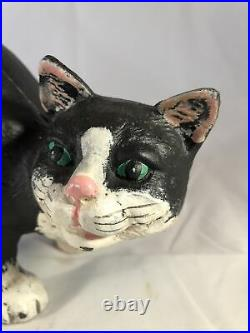 Antique Painted 12 Heavy Cast Iron Black White Arched Cat Door Stop Hubley