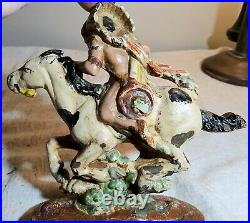 Antique Painted Cast Iron Indian Chief Doorstop Possibly Hubley Weighs About 3lb