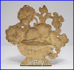 Antique Pansy Bowl Flower Cast Iron Hubley Doorstop Circa 1930