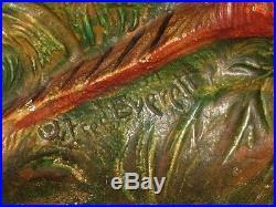 Antique Pheasant Cast Iron Door Stop Fred Everett #458 Original paint Bird