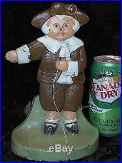 Antique Pilgrim Boy Cast Iron Metal String Holder (Doorstop) CJO-JUDD mm#1245