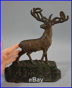 Antique Polychrome Painted Cast Iron Figural DEER Doorstop, Albany NY Foundry