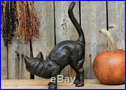 Antique Primitive Hubley Cast Iron Arched Black Cat Door Stop Vtg Halloween AAFA
