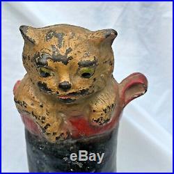 Antique Puss In Boot Cast Iron Cat Statue Doorstop Sculpture Hubley