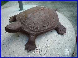 Antique RARE Cast Iron Water Turtle Wilton Doorstop Garden Statue Over 6.6 lbs