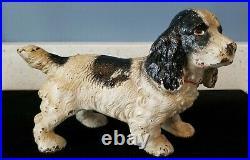 Antique Rare Hubley Black White Cocker Spaniel Dog Solid Cast Iron Doorstop