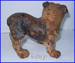 Antique Rare Hubley Cast Iron Doorstop Bulldog Statue Figurine Original