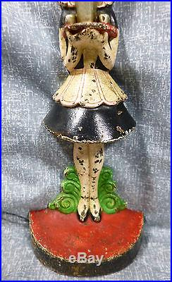 Antique Rare Hubley No. 268 Parlor Maid Cast Iron Doorstop by Fish