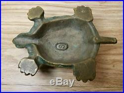 Antique Thick Brass Turtle Doorstop Door Stopper Patina Oval S Mark