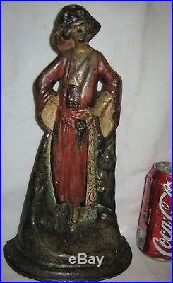 Antique USA Art Deco Lady Woman Flapper Girl Cast Iron Art Statue Door Doorstop