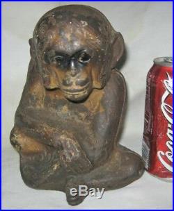 Antique USA Cast Iron Monkey Art Statue Sculpture Doorstop Hubley Door Weight Us