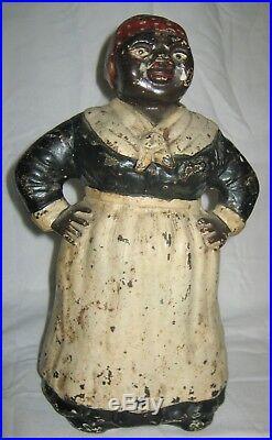 Antique USA Hubley Toy Black Americana Mammy Lady Cast Iron Statue Door Doorstop