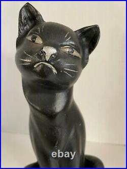 Antique VTG Hubley Cast Iron Black Siamese Cat Door Stop with Original Paint