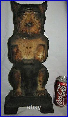 Antique Victorian USA Boston Terrier Lg Dog Doorstop Cast Iron Statue Hubley Toy