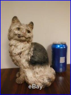 Antique Vintage Hubley Cast Iron Cute Sitting Cat Doorstop Persian Kitten Figure