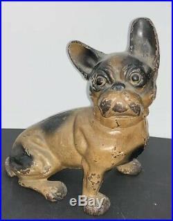 Antique Hubley Cast Iron Doorstop French Bulldog Dog Collectible Decorative Arts