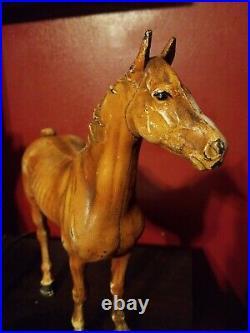 Antique Vintage Hubley Cast Iron Horse Door Stop 10 1/2 Tall