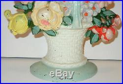 Antique Vintage Original Hubley Cast Iron #121 Floral Basket Of Flowers Doorstop