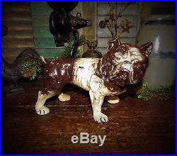 Antique Vtg Cast Iron English Bulldog Dog Bank Door Stop Gift Idea