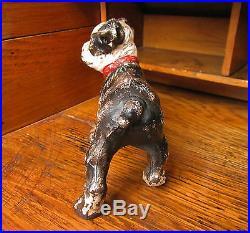 Antique Vtg Cast Iron Hubley Standing Boston Terrier Bull Puppy Dog Door Stop