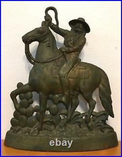 Antique Wild West Cast Iron Doorstop Cowboy Horse Western America Ranch Vaquero