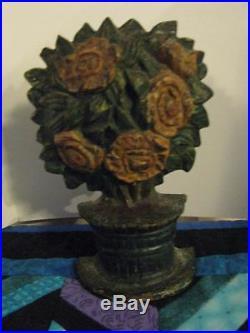 Antique c. 1930's Cast Iron Door Stop Flower Pot Roses Possibly Hubley