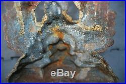 Antique cast Iron door stop Medusa head, wings & serpents Falkirk Scotland c1875