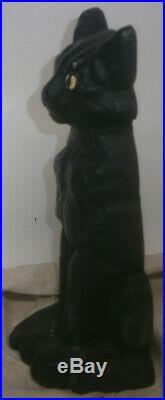 Antique national black Sitting Cat doorstop 1930's cast iron 10 high halloween