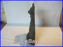 Antique vintage cast iron black cat doorstop