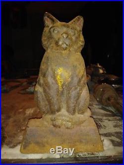 Antique vintage cast iron cat feline doorstops andirons
