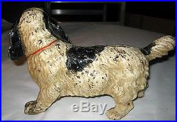 Best! Antique Hubley Black & White Lg. Cocker Spaniel Cast Iron Dog Doorstop