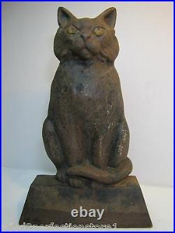 BLACK CAT Antique Cast Iron Doorstop Scary Stare Figural Decorative Statue 12 lb