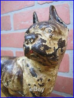 BOSTON TERRIER Antique Cast Iron Dog Doorstop Brown Cream Decorative Art Statue