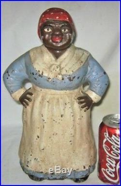 B Antique Hubley Black Americana Mammy Lady Cast Iron Art Statue Door Doorstop