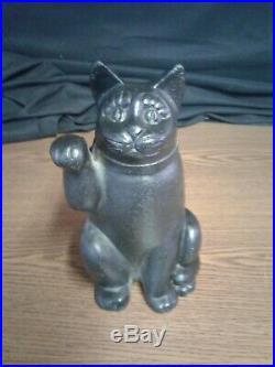 Black Cast Iron Cat Door Stop Kitten Holding Up Paw doorstop 9 tall