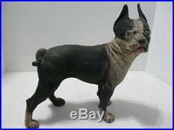 Cast Iron Dog Doorstop Boston Terrier 10 Antique Statue Americana