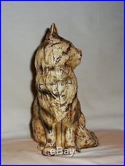 Cat Feline Cast Iron Doorstop Hubley Antique Figure Early 1900's Original Finish