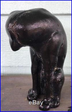 Cat seated Sculpture hand cast iron mid century Heavy statue 9 Kitten Doorstop
