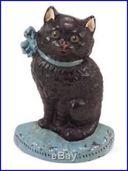 Charming Old Hubley Cast Iron Black Cat Kitten Blue Ribbon Door Stop Doorstop