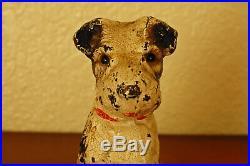 Cute Vintage Cast Iron Hubley Wire Fox Terrier Puppy Doorstop Bookend Figurine
