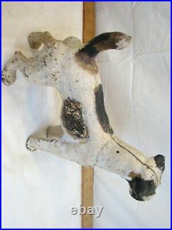Early Large Cast Iron Airedale Dog Door Stop Fox Terrier Figural Doorstop Hubley