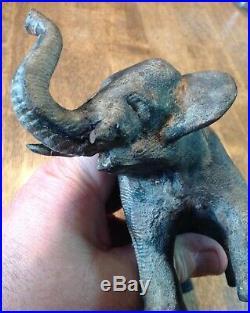 Excellent Heavy Vintage Antique Cast Iron Elephant Door Stop! Hubley