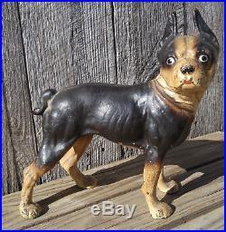 Excellent Original Antique Cast Iron Hubley Boxer Boston Terrier Dog Door Stop