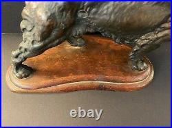 FINE ANTIQUE HUBLEY CAST IRON IRISH SETTER HUNTING DOG ART STATUE BRONZED 1930s