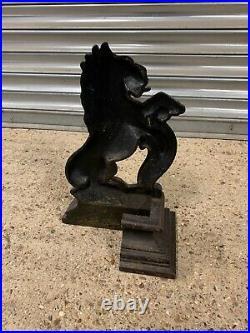 Fabulous 19th Century Rampant Lion Cast Iron Door Stop Circa 1860s