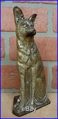 GERMAN SHEPHERD Old Cast Iron Doorstop Figural Dog Decorative Art Statue