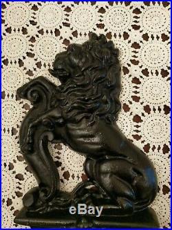 Gorgeous Antique Victorian Black Cast Iron Lion Doorstop