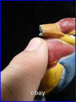 HERON BIRD MULTI COLORED 7.5 INCHES Cast Iron Door Stop! VINTAGE