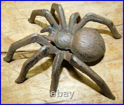 HUGE Cast Iron UGLY SPIDER Doorstop Statue Paper Weight Garden Decor TARANTULA