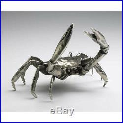 Heavy Cast Iron Large Silver Crab Doorstop Nautical Coastal Beach Decor